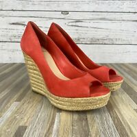 VINCE CAMUTO 'Totsi' Peep Toe Espadrille Wedges Coral Suede Women's Size 9.5
