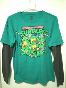 TEENAGE MUTANT NINJA TURTLES SHIRT. Green with Gray Sleeves. Size Y XL