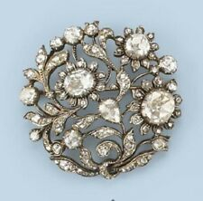 Simulated 925 Sterling Silver Brooch Pin White Stone Filigree Vintage Style Fine