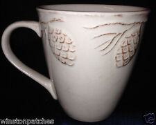HOME HOLIDAY PINE CONE MUG 14 OZ CREAM WITH EMBOSSED PINE CONES