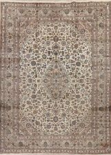 10'x13' Large Vintage Ivory Floral Ardakan Oriental Area Rug Hand-Knotted Carpet