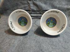 Ursula Dodge Stoneware Angel Cat Kitty Food Water Large Bowls (2] Dish w Rack