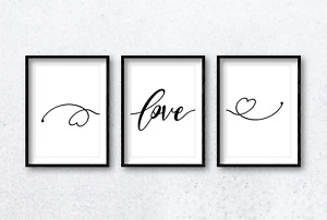 Love With Hearts Calligraphy Wall Art Print Poster Set of 3. Choose Colour, Size