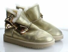 60-27 MSRP $190 Women's Size 6 UGG Mini Sequin Gold Metallic Leather Ankle Boots