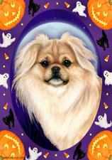 Tibetan Spaniel Cream Sable Halloween Howls Flag
