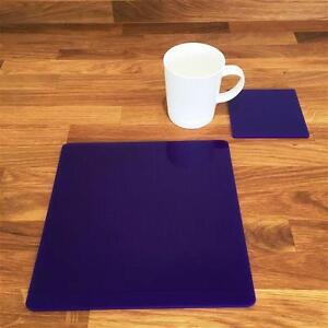 "Square Shaped Purple Gloss Finish Acrylic Placemats & Coasters 4/6/8 Size 9""/12"""