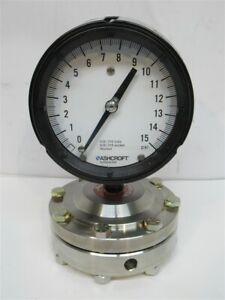 Ashcroft Gauge 741SS 04T Sealed Diaphragm and 45-1279-SS-04L-15#, 15 PSI Gauge
