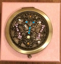 Compact Mirror Butterflies Metal Blue Yellow Pink Glass Stones Gift Boxed