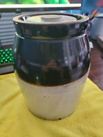 ANTIQUE BROWN & BEIGE STONEWARE CROCK GLAZED 1 1/2 GALLON W/LID