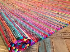 ❤️Plain Bright Multi Colour Rag Rug 75cm x 240cm Long Flat Weave Long Runner