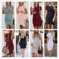 Women Ladies Summer Party Mini Short Sleeve Bodycon Crew Neck Beach Dresses