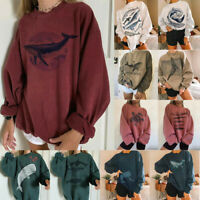 Womens Whale Shark Print Harajuku Sweatshirt Ladies Pullover Jumper Tops Blouse