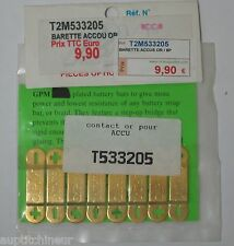 T2M 533205 contact or pour accu barettes accu plaquées or - 8 pièces