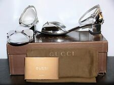$598.00 GUCCI MIROIR ARGENTO ITALY SILVER AND LEATHER SIZE US 6.5/ G 36.5
