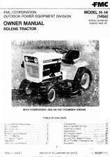 Bolens Tractor Model H-14 (1456) w Hydrostatic HH140 Engine Operator Maint Manua