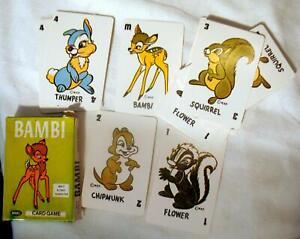Bambi Kids Card Game 1965 Russel Walt Disney Original 40 Card Complete Boxed Set