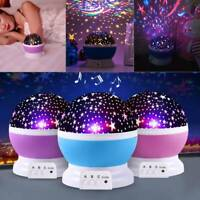 3 Color LED Rotating Projector  Night Light Baby Kids Bedroom Sleeping Lamp