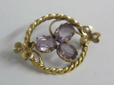 An Exquisite Antique Edwardian 9ct gold Amethyst & Seed Pearl Brooch