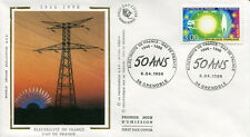 FRANCE FDC - 2996 3 ENERGIE EDF GDF - GRENOBLE 6 Avril 1996 - LUXE sur soie