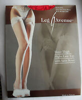 BEAUTIFUL RED SHEER BOW LACE TOP STOCKINGS BURLESQUE LEG AVENUE 1912 VALENTINE