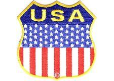 "(ZDO) USA SHIELD AMERICAN FLAG 2.75"" iron on patch (1329D) Biker Vest Cap"