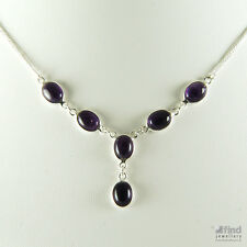 New Sterling Silver Ladies Real Purple Amethyst Oval Cabochon Chain Necklace