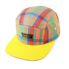Men's Summer Cotton Plaid 5 Panel Snapback Cadet Cap Hat Leather Strap Yellow