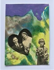More details for aceo miniature collage and acrylic semi-abstract no.3 by janet r. signed/dated