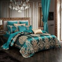 Luxury European Style Silk Jacquard Bedding Set Cover Set Pure Cotton Bed Sheet