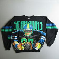 Vintage Seattle Seahawks Football Sweatshirt Shirt vtg 80s 8 Bit L