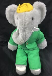 "Vintage 17"" Babar Plush Elephant Character Eden Toys 80's Green Suit"