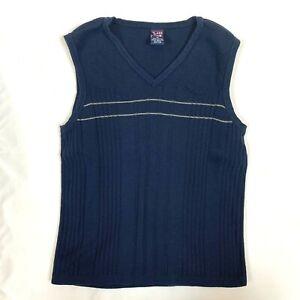 Class Club Boys Cotton V Neck Sleeveless Knit Sweater Vest Navy Youth Size M
