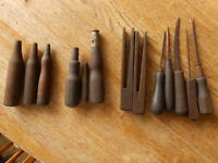 Lot of 13 pcs Vintage Antique workshop wood handles awls carpenter tools etc