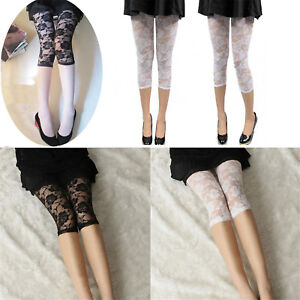 Ladies Short Cropped Stretchy Jeggings Trim Lace Bottom Womens Leggings Pant  @I