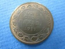 1917 Canada One 1 Cent Copper Large Penny Canadian George V  aEF Circulated Coin