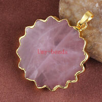 18K Gold Plated Natural Pink Rose Quartz Crystal Flower Gemstone Pendant Jewelry