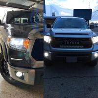 for 2014-2019 2020 Toyota Tundra White LED H4 Headlight + H16 Fog Light Bulbs