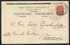 Finlandia 1908 10 Penna ROSE-Carmine tipo a SG 163 su cartolina con Helsinki CXL