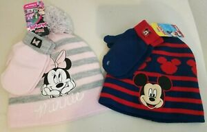 Set of 2 Mickey Minnie Mouse Beanie Winter Hat Glove Set Toddler Kid Boy Girl