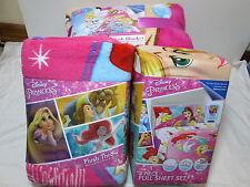 Disney Princess Bedazzling Princess Full Sheet Set, Plush Blanket & Plush Throw