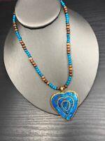 """Vintage Brass Mosaic Turquoise Color Heart   Pendant Necklace Bohemian 16"""""""