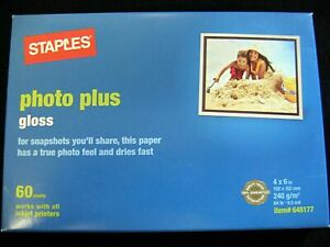 Staples 4x6 Photo Plus Gloss Paper! Brand New! Free Shipping!