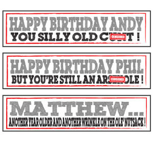2 PERSONALISED NAME & AGE RUDE BIRTHDAY BANNERS CRUDE FUNNY HUMOUR