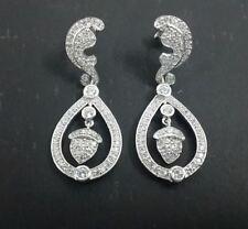 925 Sterling Silver Kate Middleton Inspired Earrings Wedding White Dangles