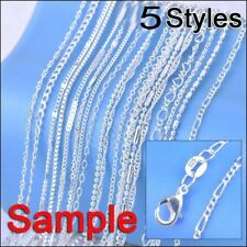 "Lot 5pcs/set 925 Silver Mixed Necklace Chain Size 16- 30"" Unisex Charms Jewelry"