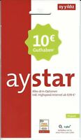 ay yildiz aystar Prepaid Handy SIM Karte 10 € Guthaben ayyildiz Flat BASE NEU
