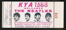 "Beatles VINTAGE HISTORIC 1966 "" CANDLESTICK PARK "" FULL CONCERT TICKET UNUSED NM"