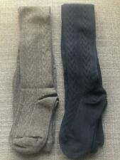 Girl Cotton Rich School Tights Winter Warm Thick 6-9Yrs Pack of 2 Pair Navy Grey