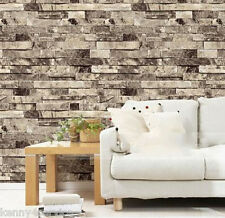 3D Cottage Chic Rustic Vinyl Embossed Textured Grey Tile Brick Stone Wallpaper