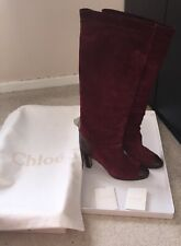 Chloe Designer Red Leather Suede Ladies High Heel Knee High Boots Size 41 Box